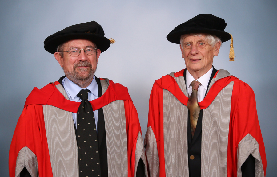 Professor Mike Kosterlitz, left, and Professor David Thouless