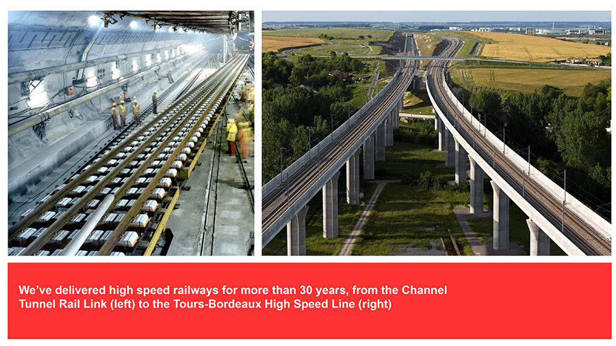 BBVT conference graphic showing two photos of rail projects