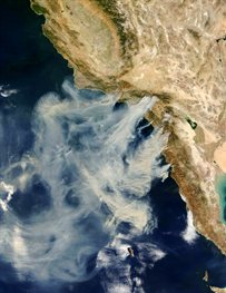Satellite image of Californian wildfires