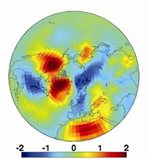 Temperature anomaly in a general circulation model (ECHAM4) simulation nudged towards a negative state of the Northern Annular Mode which is similar to the condition causing the cold dry conditions of the 2008-09 winter in the UK