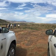 Palaeontologists from the University of Birmingham and Wits University (Johannesburg) searching for dinosaur fossils on the South Africa-Lesotho border