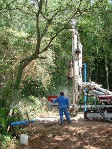 Drilling boreholes in the forest