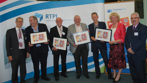 Left to right: Prof Gavin Parker (RTPI Director of Professional Standards), pioneers Dr Mike Beazley, Michael Parkes, David Lock CBE and Rob Cowan, Meg Munn MP, Peter Geraghty (RTPI President)