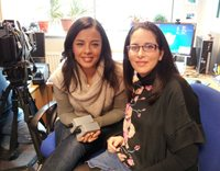 BBC Bang Goes the Theory presenter Liz Bonnin (left) and Dr Juana Mari Delgado-Saborit (right) during the shooting of the interview