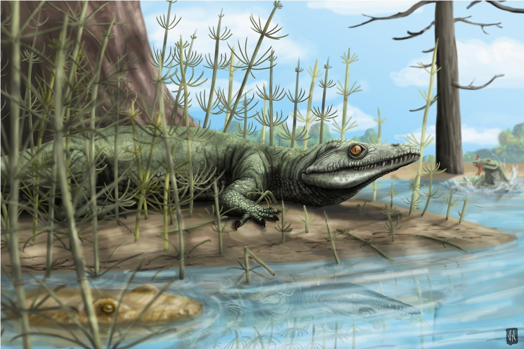 fossil-reptile-life-reconstruction