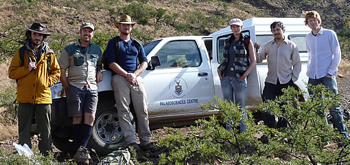 Birmingham researchers and collaborators from the University of the Witwatersrand on a fieldtrip to South Africa