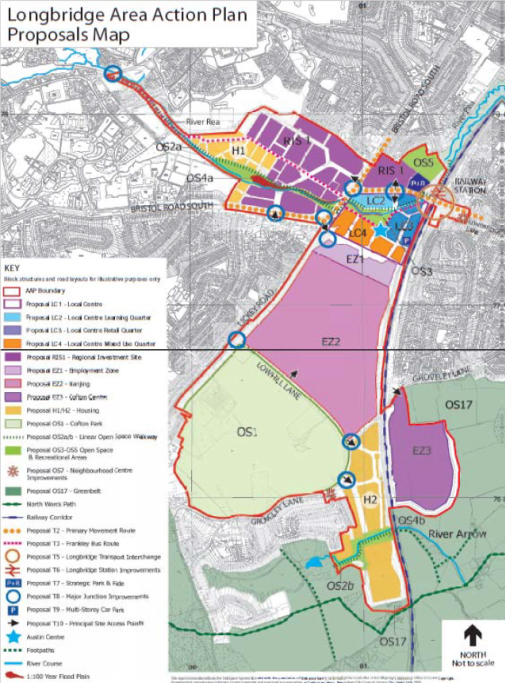 Longbridge area action plan proposals map