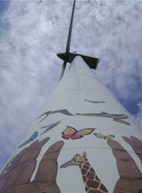 Wind turbine painted with a mural