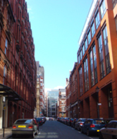 A typical urban street canyon