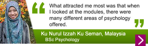 Ku Nurul Izzah Ku Seman - What attracted me most was that when I looked at the modules, there were many different areas of psychology offered.