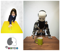 child reaches for a cup and robot reaches for a cup
