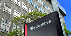 Biosciences sign outside building