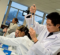 Chinese student in Biosciences lab