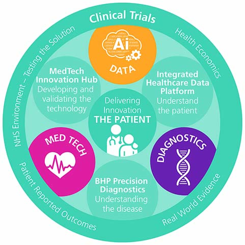 Circle infographic with Delivering Innovation The Patient in the middle, from top clockwise Data, Integrated Healthcare Data Platform Understand the patient, Diagnostics, BHP Precision Diagnostics, Understanding the disease, Med Tech, MedTech Innovation H