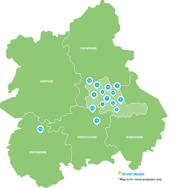 Map of placements within the West Midlands