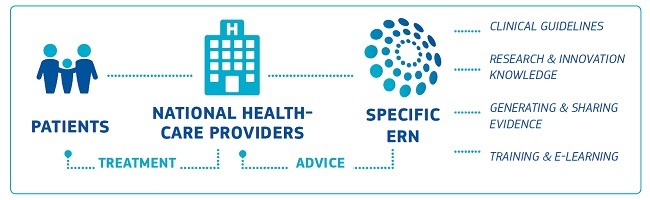 Diagram showing National Health Care Providers in the middle with patients to the left and Specific ERN on the right. Coming off specific ERN are the words Clinical Guidelines, Research and Innovation Knowledge, Generating and Sharing evidence and Training