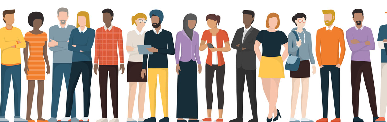 Graphic illustration of a variety of people
