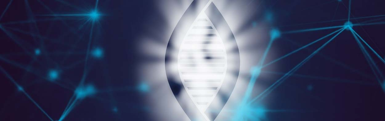 Blue DNA helix