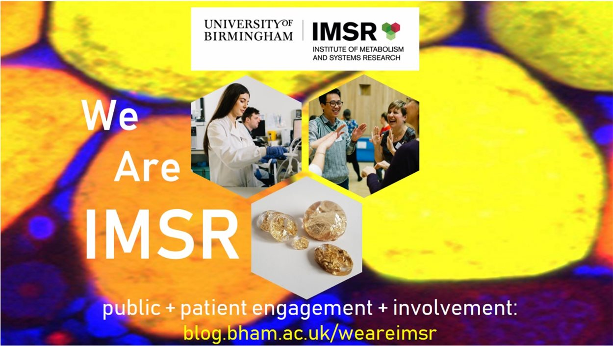University of Birmingham - Institute of Metabolism and Systems Research. We are IMSR, public + patient engagement + involvement: blog.bham.ac.uk/weareimsr