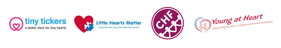 Tiny tickers, Little Hearts Matter, CHF and Young at Heart logos