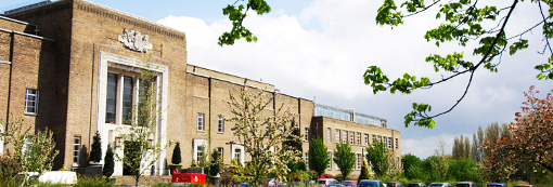 Photo of the front of the Medical School building