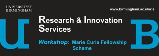Banner advertising the Marie Curie Fellows workshop (with UoB logo)