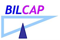 BILCAP logo in blue and pink lettering with a triangular design below.