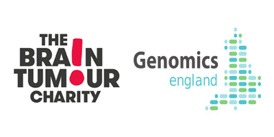 The Brain Tumour Charity and Genomics england logos