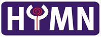 The HYMN logo with white lettering on a purple rectangular background.
