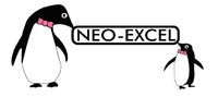 The NEO-EXCEL logo which features two penguins and black writing on a white background.