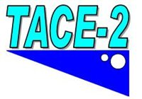 Tace 2 logo with a blue triangle underneath