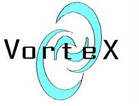 VORTEX Logo with swirly background