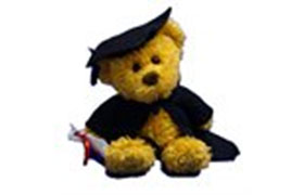 Teddy bear in graduation gown and cap