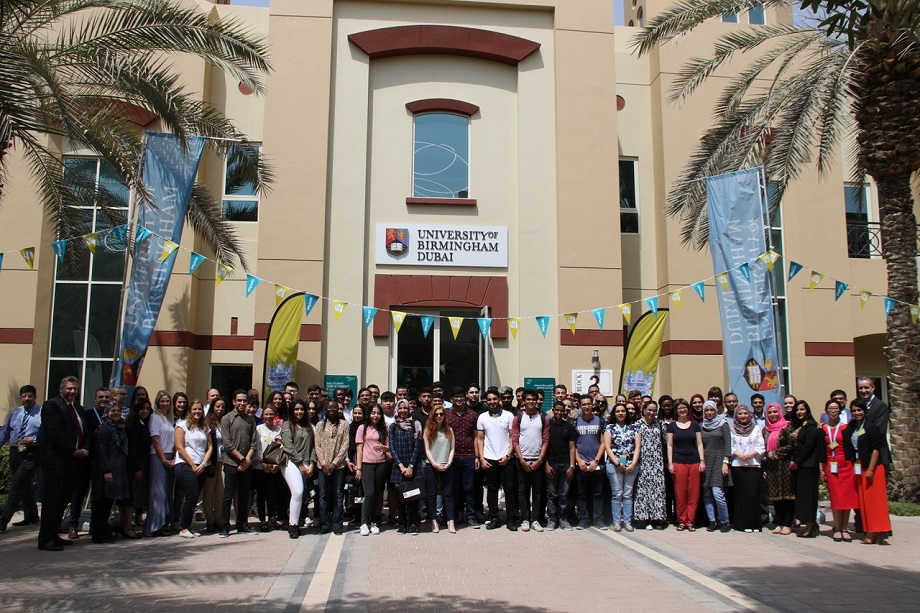 Staff and students during Welcome Week at the University of Birmingham's Dubai campus