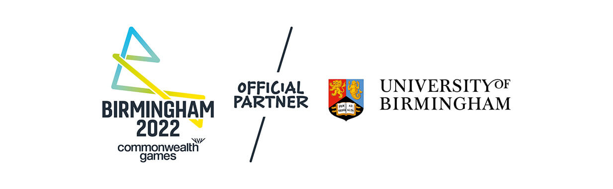 Birmingham 2022 Commonwealth Games logo and the University of Birmingham crest and word marque