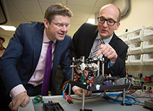 Greg Clark, Minister for Universities, Science and Cities with Professor Kai Bongs