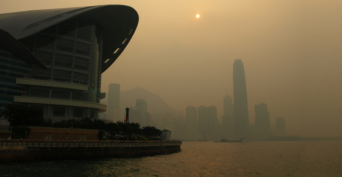 Air Pollution in Victoria Harbour in Hong Kong