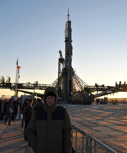 Very cold in Kazakhstan - Professor Mike Cruise with the Soyuz rocket that will launch Tim Peake into space