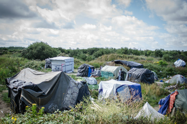 By Thom Davies - a view of one part of the Jungle refugee camp in Calais home to around 3000 refugees and migrants