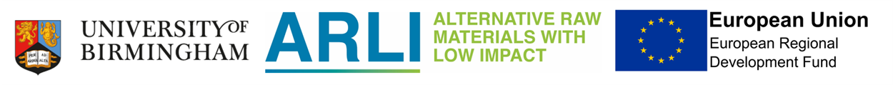 Alternative Raw Materials with Low Impact project logo with University of Birmingham and European Regional Development Fund logos.