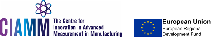 The Centre for Innovation in Advanced Measurement in Manufacturing project logo with the European Regional Development Fund logo.