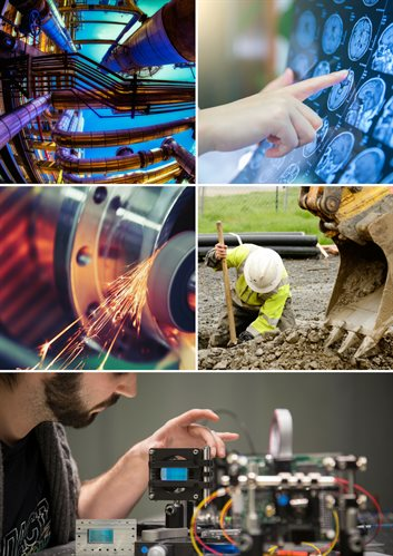 A montage of images reflecting various industrial sectors including: the oil and gas industry; the medical technology and healthcare industries; the manufacturing sector; the construction industry; and the quantum technologies sector.