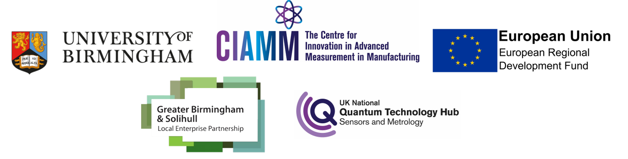 Centre for Innovation in Advanced Measurement in Manufacturing partner logos including UK National Quantum Technology Hub, NPL, Greater Birmingham and Solihull Local Enterprise Partnership and European Regional Development Fund.