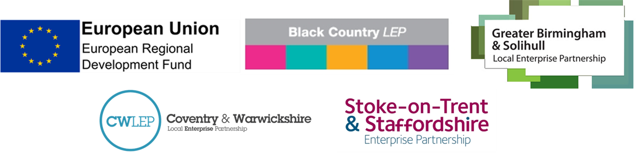 ERDF Logo, Black Country LEP Logo, Birmingham and Solihull LEP logo, Coventry and Warwickshire LEP Logo, Stoke-on-Trent & Staffordshire LEP logo