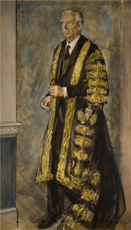 Hill, Derek (1916-2000) Portrait of the Rt Hon. the Earl of Avon, 1974, Oil on canvas, Research & Cultural Collections