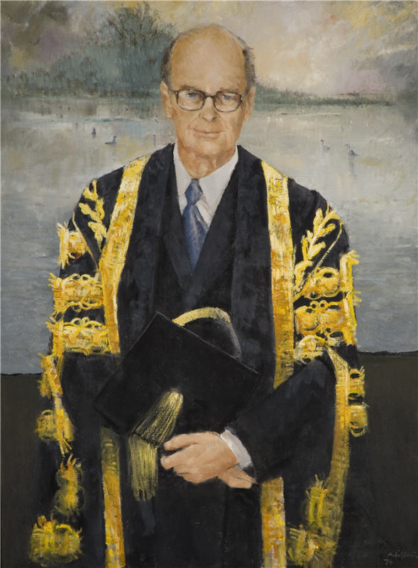 Pugh, Clifton (1924-1990) Portrait of Sir Peter Scott, 1976, Oil on canvas, Research & Cultural Collections