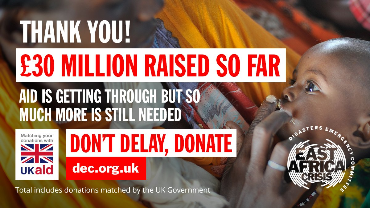 DEC campaign ad showing a young African child eating peanut paste from her father's finger. The text reads: 'Thank you! £30 million raised so far. Aid is getting through but so much more is still needed. Don't delay, donate.'