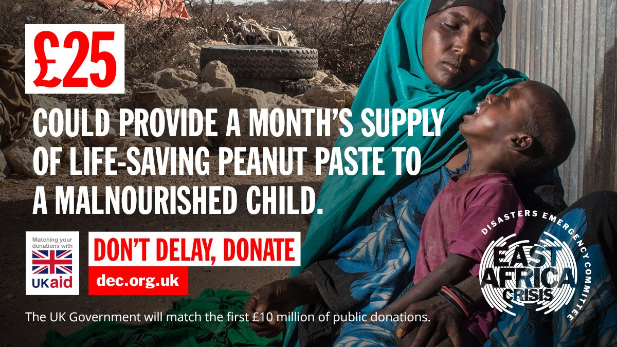 DEC campaign ad showing a malnourished African boy crying in his mother's arms. The text reads: '£25 could provide a month's supply of life-saving peanut paste to a malnourished child. Don't delay, donate.'