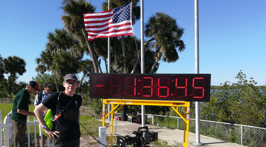 Professor Bill Chaplin preparing for the launch of TESS at Cape Canaveral.
