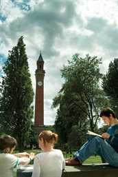 Students and tower